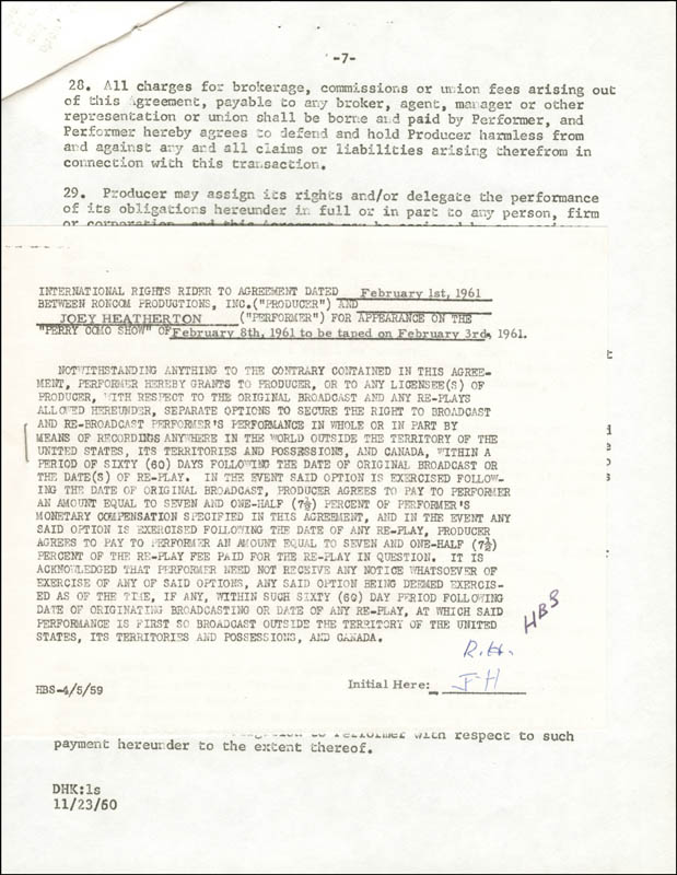 Image 3 for Joey Heatherton - Contract Signed 02/01/1961 - HFSID 262360