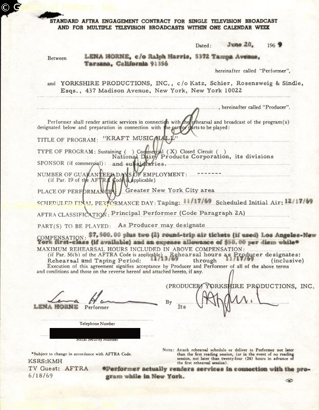 Image 1 for Lena Horne - Annotated Contract Signed 06/20/1969 - HFSID 262374
