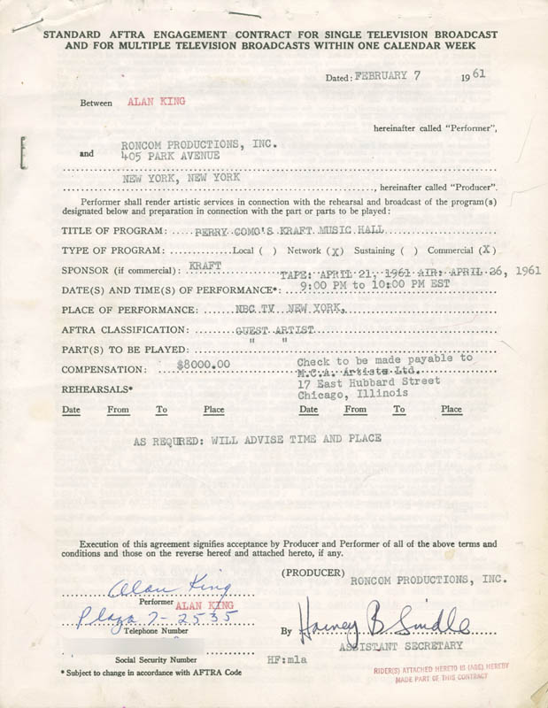 Image 2 for Alan King - Annotated Contract Multi-signed 02/07/1961 - HFSID 262390