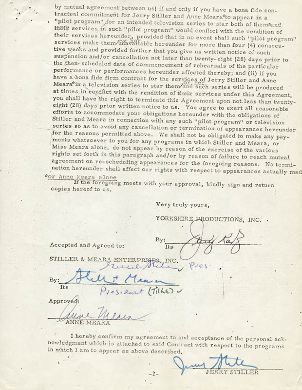 Image 1 for Anne Meara - Contract Multi-signed 09/09/1970 co-signed by: Jerry Stiller - HFSID 262499
