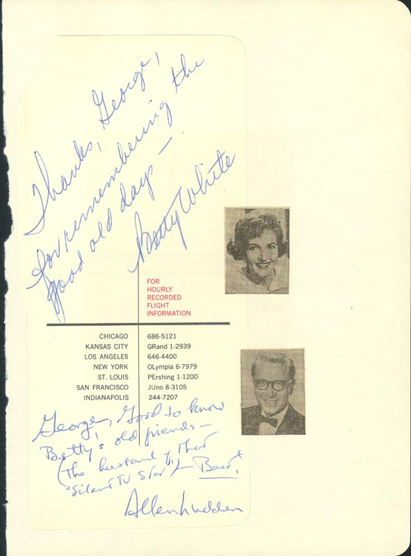 Image 1 for Betty White - Autograph Note Signed co-signed by: Allen Ludden - HFSID 26250