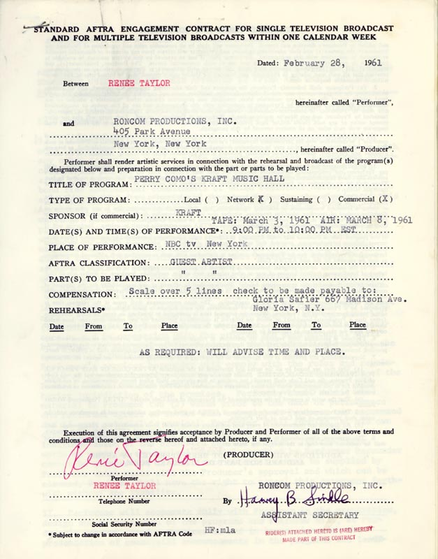 Image 1 for Renee Taylor - Contract Signed 02/28/1961 - HFSID 262504