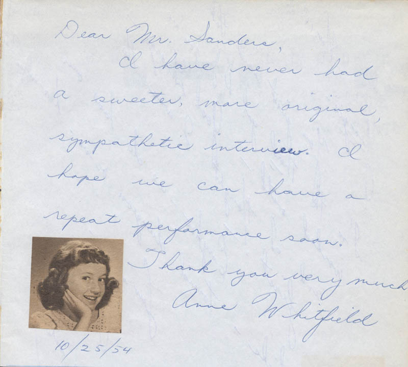 Image 1 for Anne Whitfield - Autograph Note Signed 10/25/1954 - HFSID 26251