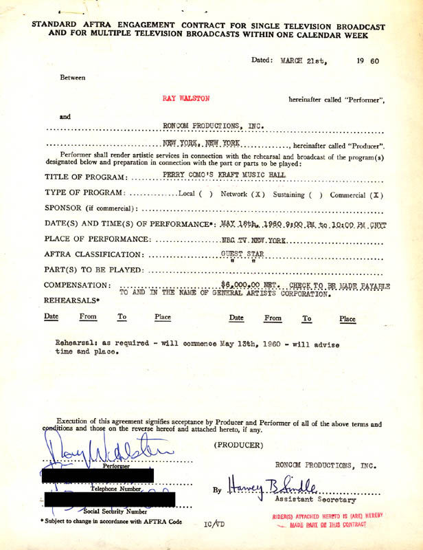 Image 1 for Ray Walston - Contract Signed 03/21/1960 - HFSID 262527