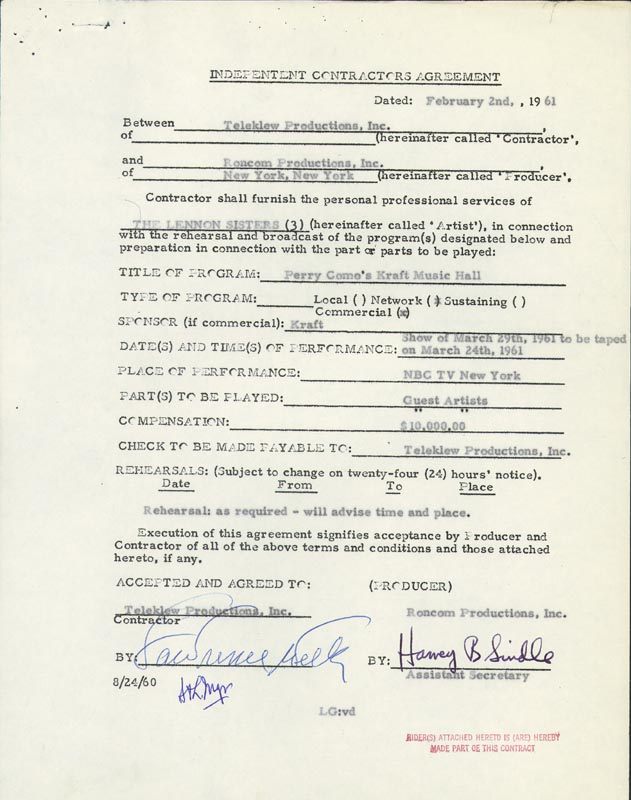 Image 1 for Lawrence Welk - Contract Double Signed 02/02/1961 with co-signers - HFSID 262531