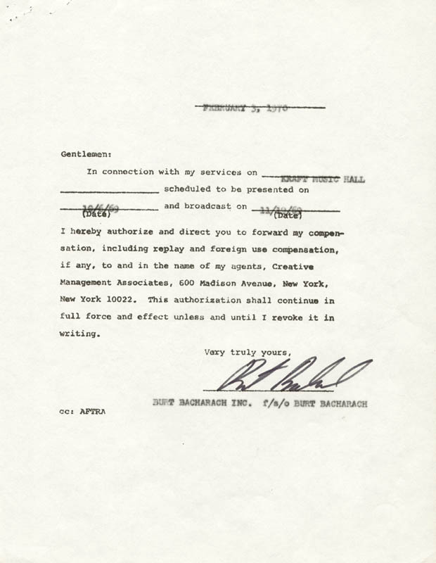 Image 1 for Burt Bacharach - Document Signed 02/03/1970 - HFSID 262570