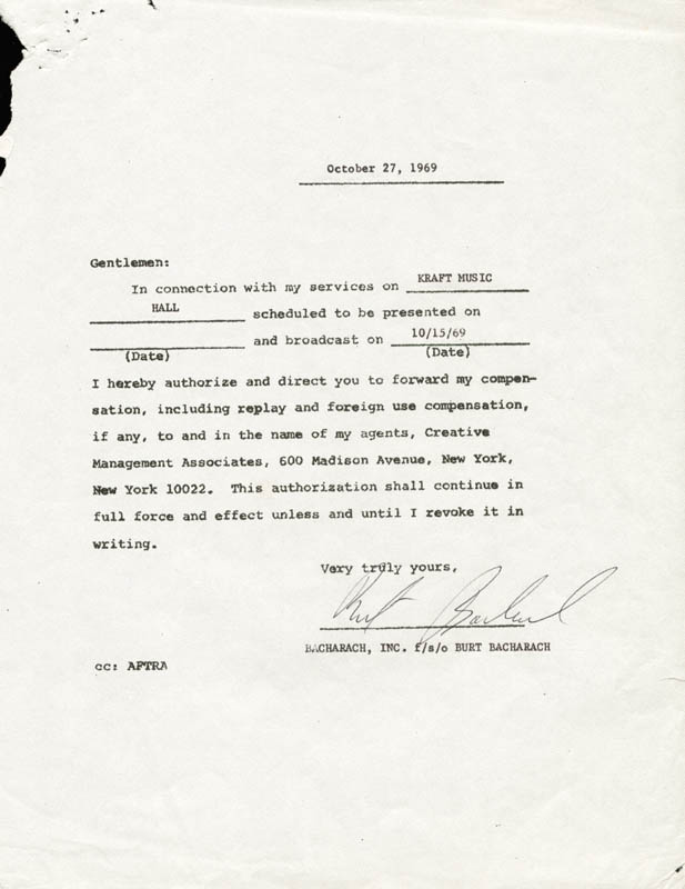 Image 1 for Burt Bacharach - Document Signed 10/27/1969 - HFSID 262571