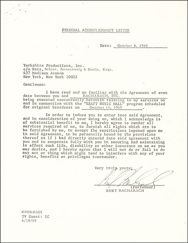 Image 1 for Burt Bacharach - Document Signed 10/08/1969 - HFSID 262572