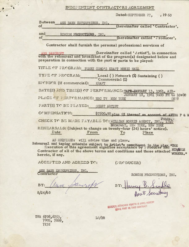 Image 1 for Anne Bancroft - Document Signed 09/27/1960 - HFSID 262577