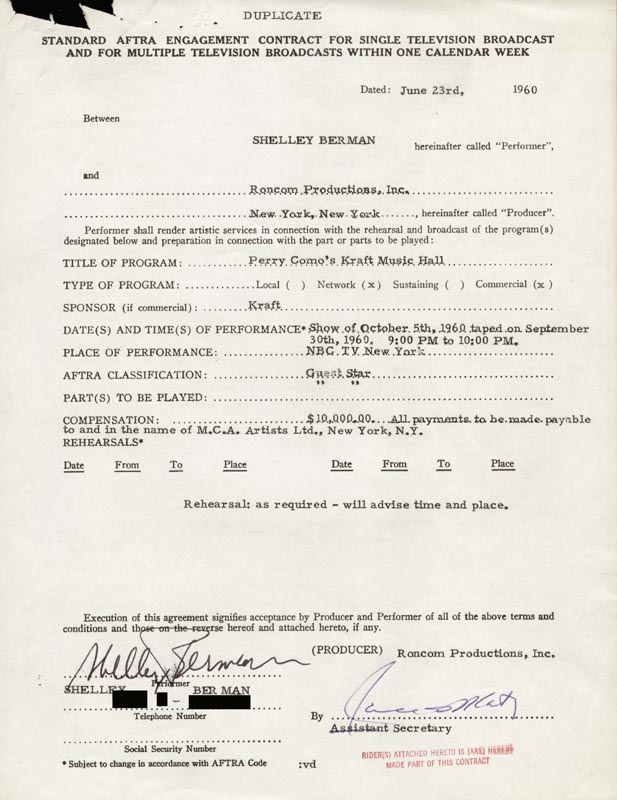 Image 1 for Shelley Berman - Contract Signed 06/23/1960 - HFSID 262590