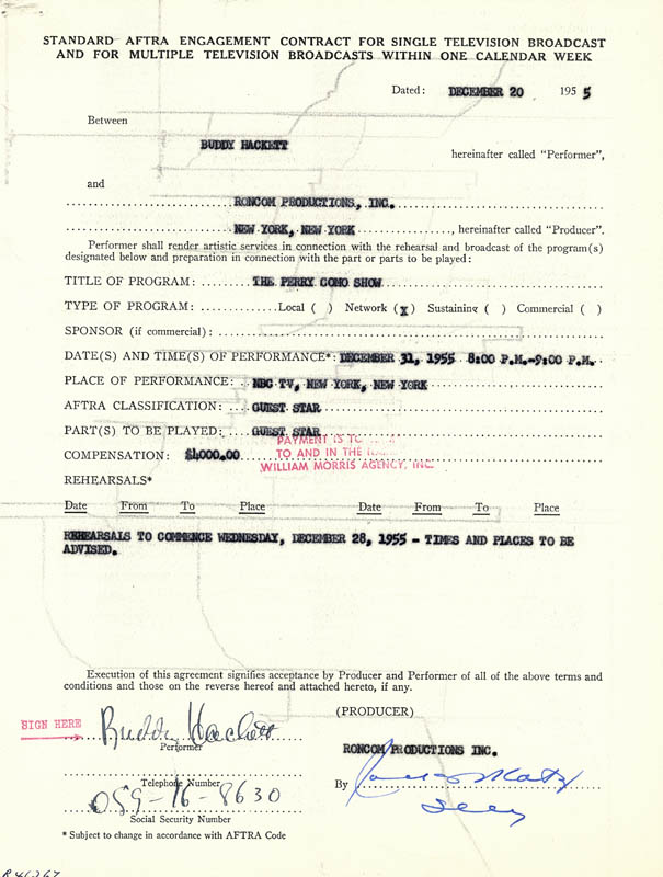 Image 1 for Buddy Hackett - Contract Signed 12/20/1955 - HFSID 262632