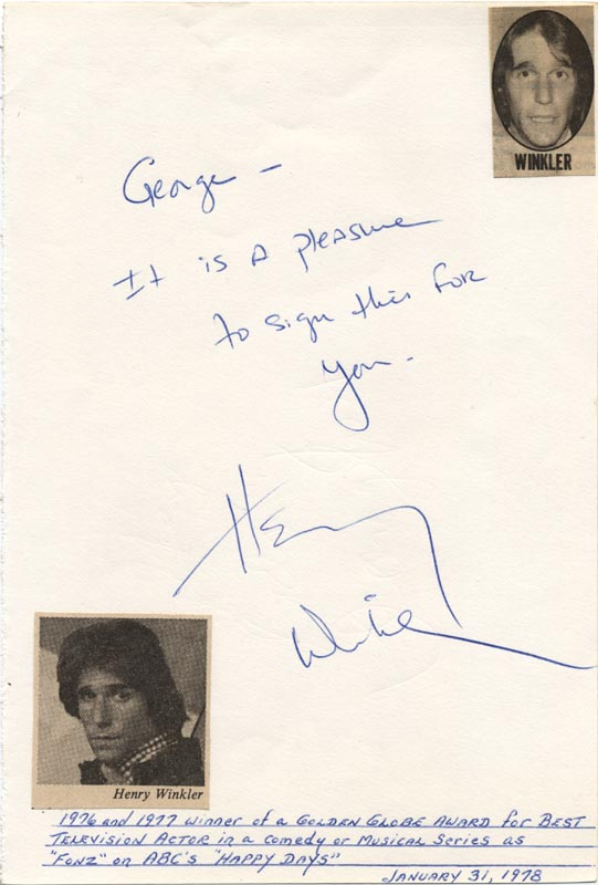 Image 1 for Henry 'The Fonz' Winkler - Autograph Note Signed Circa 1978 - HFSID 26278
