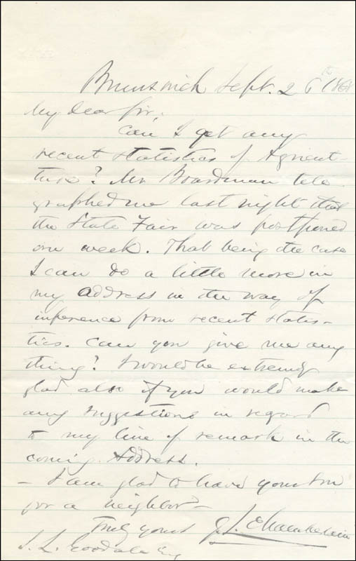Image 1 for Major General Joshua Lawrence Chamberlain - Autograph Letter Signed 09/26/1868 - HFSID 262815