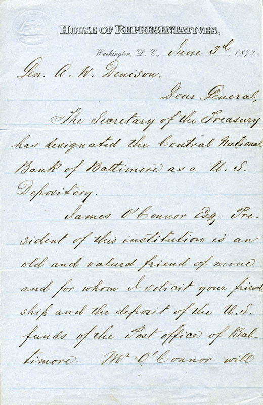 Image 3 for Major General James Scott Negley - Manuscript Letter Signed 06/03/1872 - HFSID 262848