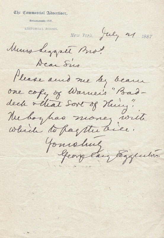 Image 1 for George Cary Eggleston - Autograph Letter Signed 07/21/1887 - HFSID 262852