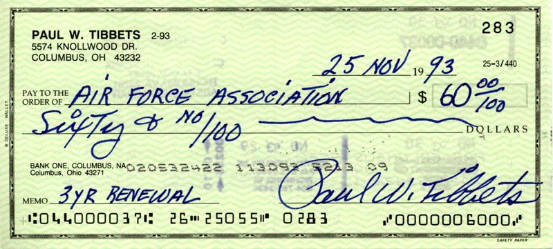Image 1 for Enola Gay Crew (Paul W. Tibbets) - Autographed Signed Check 11/25/1993 - HFSID 263053