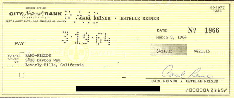 Image 1 for Carl Reiner - Autographed Signed Check 03/09/1964 - HFSID 263073