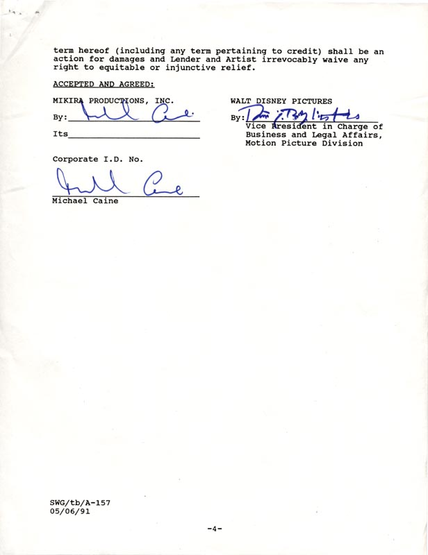 Image 1 for Michael Caine - Document Double Signed 01/28/1991 - HFSID 263086
