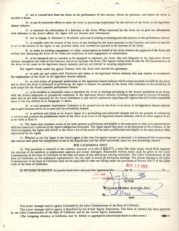 Image 1 for Jimmy 'Schnozzola' Durante - Contract Signed 04/19/1963 - HFSID 263105