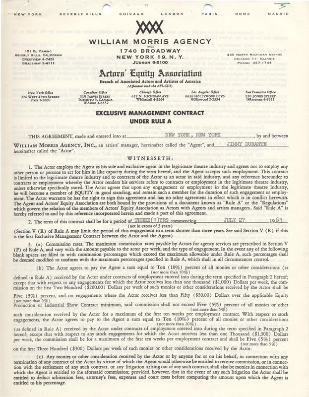 Image 3 for Jimmy 'Schnozzola' Durante - Contract Signed 04/19/1963 - HFSID 263105