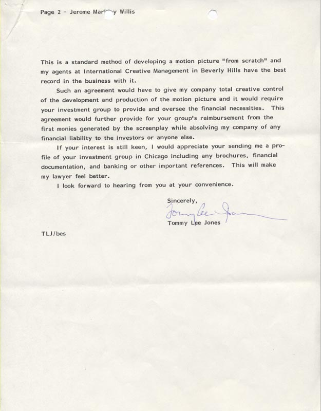 Image 1 for Tommy Lee Jones - Typed Letter Signed 07/22/1986 - HFSID 263129