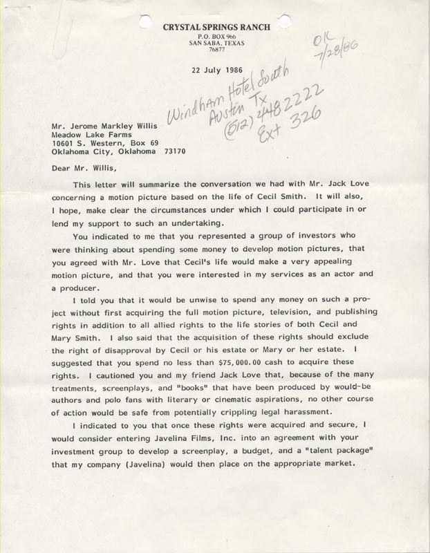 Image 3 for Tommy Lee Jones - Typed Letter Signed 07/22/1986 - HFSID 263129