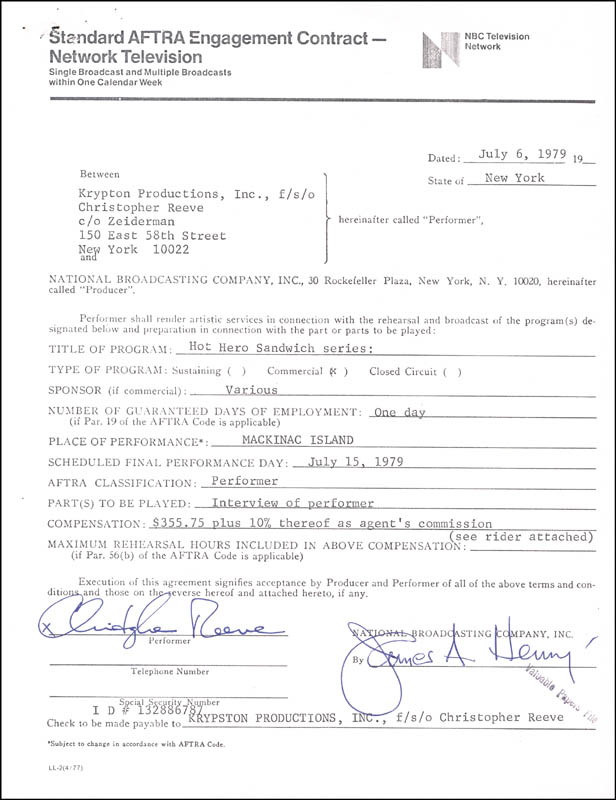 Image 1 for Christopher Reeve - Contract Signed 07/06/1979 - HFSID 263156