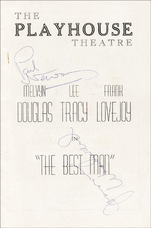 Image 1 for Best Man Play Cast - Program Signed co-signed by: Lee Tracy, Frank Lovejoy, Joanne Woodward, Paul Newman, Gore Vidal, Melvyn Douglas - HFSID 26323