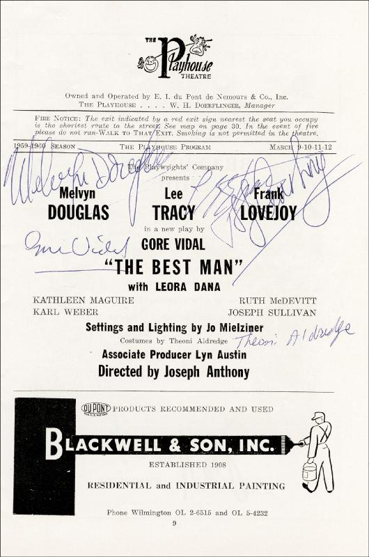 Image 3 for Best Man Play Cast - Program Signed co-signed by: Lee Tracy, Frank Lovejoy, Joanne Woodward, Paul Newman, Gore Vidal, Melvyn Douglas - HFSID 26323