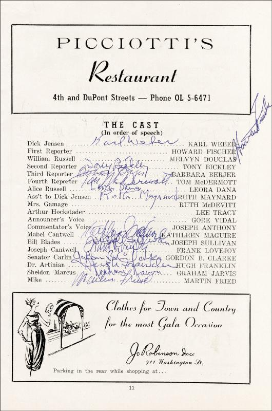 Image 4 for Best Man Play Cast - Program Signed co-signed by: Lee Tracy, Frank Lovejoy, Joanne Woodward, Paul Newman, Gore Vidal, Melvyn Douglas - HFSID 26323