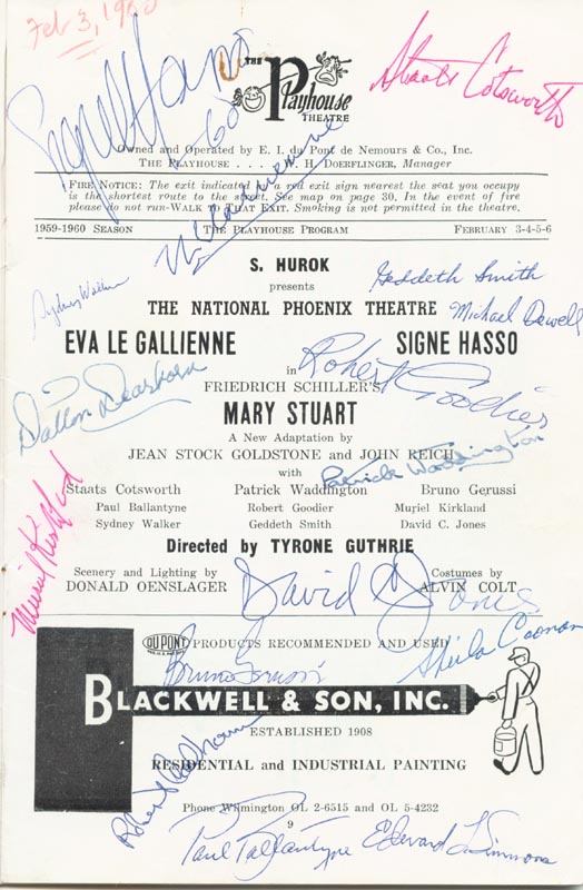 Image 1 for Mary Stuart Play Cast - Program Signed 1960 co-signed by: Staats Cotsworth, Bruno Gerussi, Eva Le Gallienne, Signe Hasso, David C. Jones - HFSID 26324