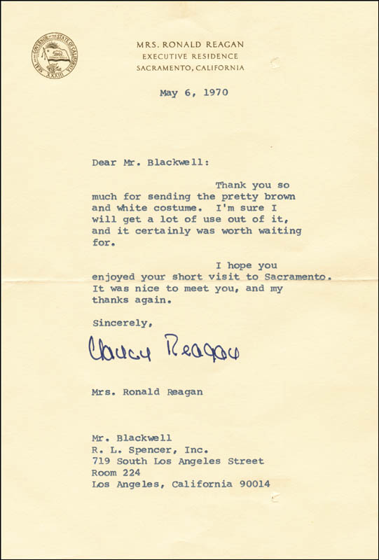 Image 1 for First Lady Nancy Davis Reagan - Typed Letter Signed 05/06/1970 - HFSID 263250
