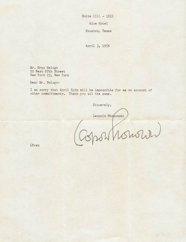 Image 1 for Leopold Stokowski - Typed Letter Signed 04/03/1956 - HFSID 2640