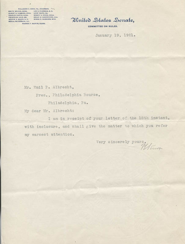 Image 1 for Philander C. Knox - Typed Note Signed 01/19/1921 - HFSID 26409