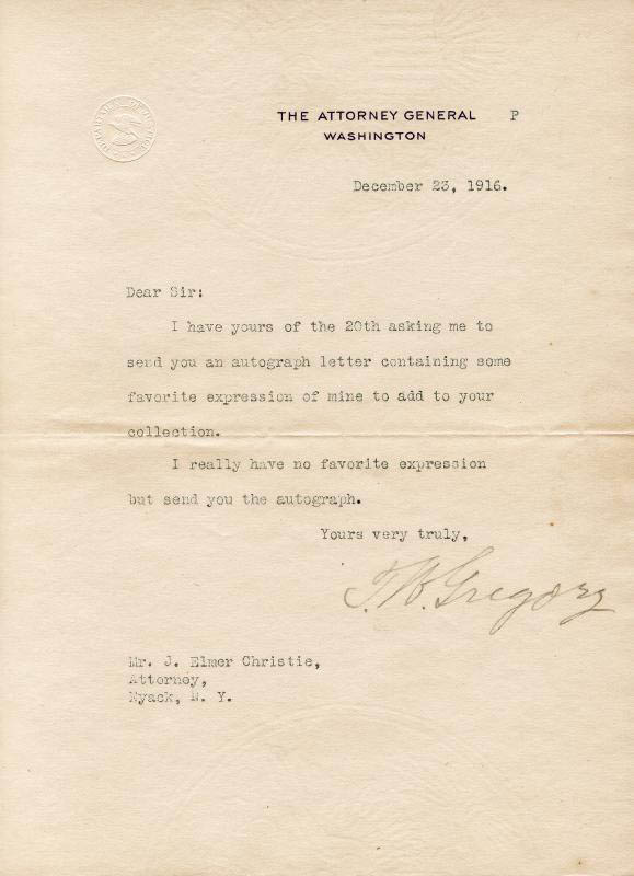 Image 1 for Thomas W. Gregory - Typed Letter Signed 12/23/1916 - HFSID 26433