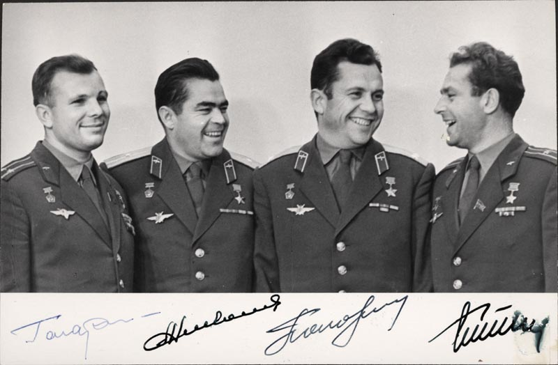 Image 1 for Colonel Yuri Gagarin - Autographed Signed Photograph with co-signers - HFSID 264349