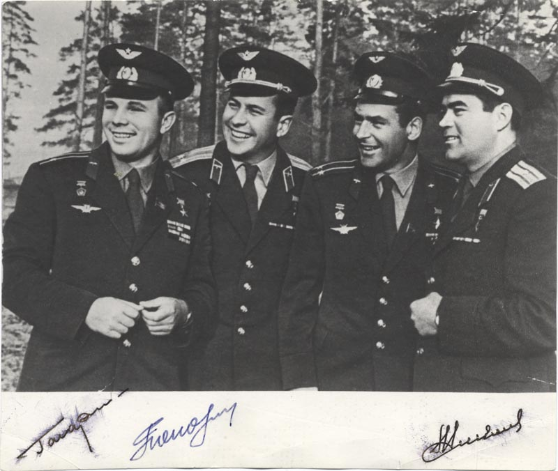 Image 1 for Colonel Yuri Gagarin - Autographed Signed Photograph co-signed by: Major General Pavel Popovich, Major General Andrian Nikolayev - HFSID 264357