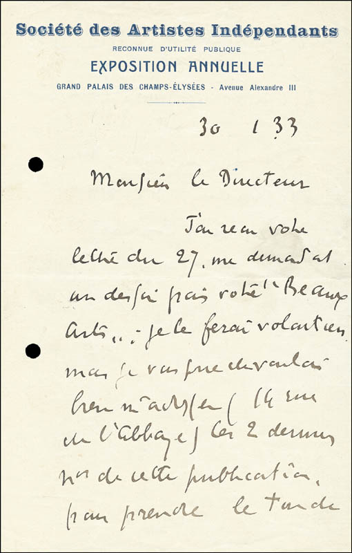 Image 3 for Paul Signac - Autograph Letter Signed 01/30/1933 - HFSID 264379