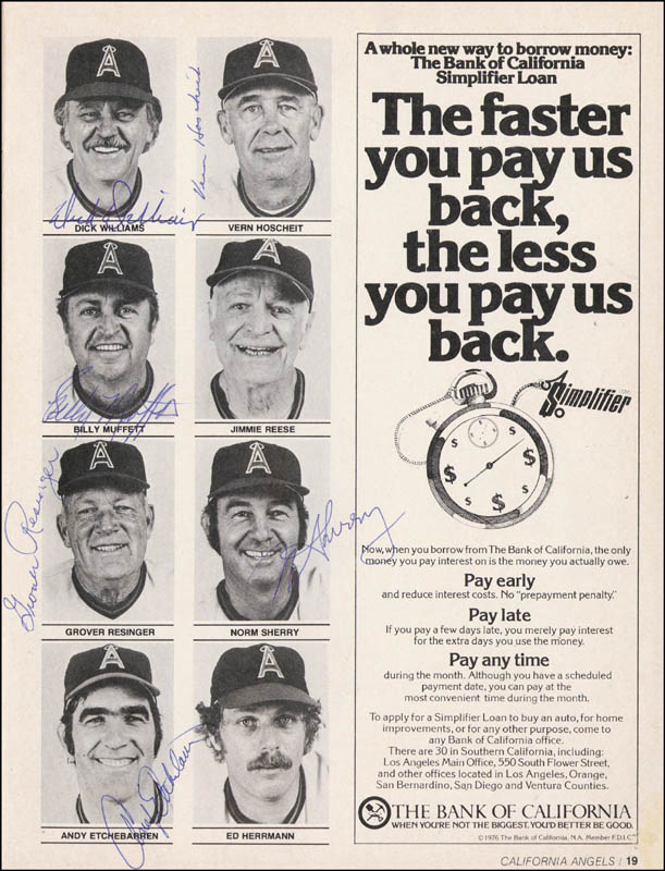 Image 7 for The California Angels - Program Signed Circa 1976 with co-signers - HFSID 264410