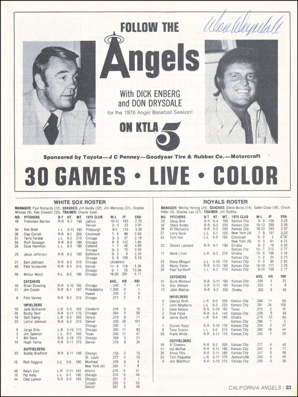 Image 8 for The California Angels - Program Signed Circa 1976 with co-signers - HFSID 264410
