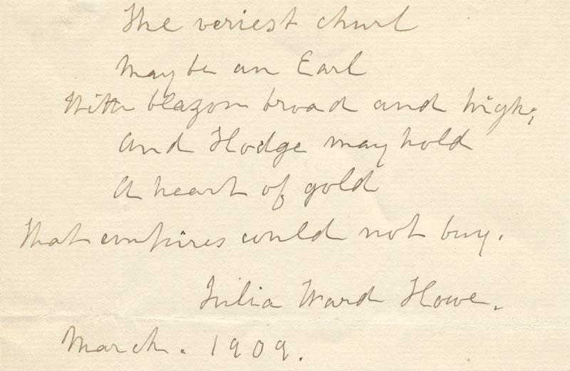 Image 1 for Julia Ward Howe - Autograph Quotation Signed 3/1909 - HFSID 264498
