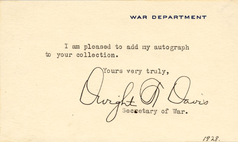 Image 1 for Dwight F. Davis - Typed Note Signed Circa 1928 - HFSID 26476