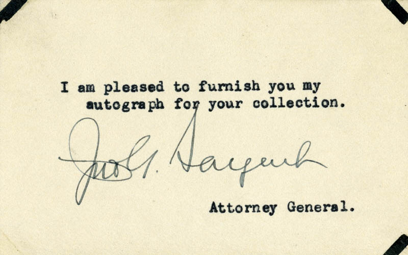 Image 1 for John G. Sargent - Typed Note Signed - HFSID 26479
