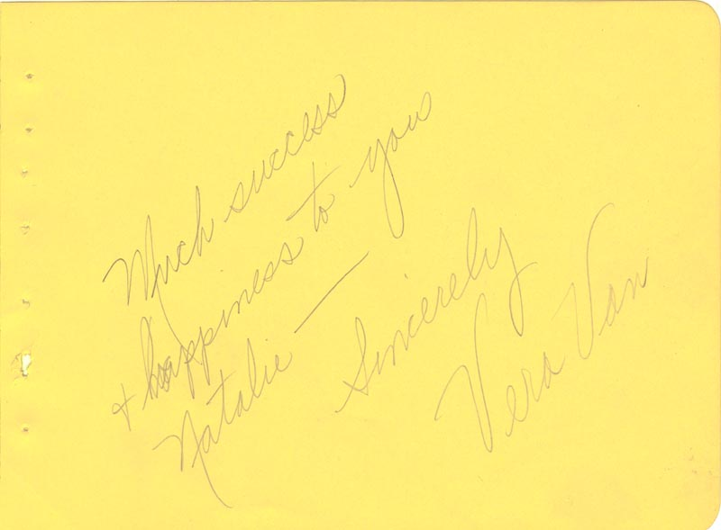Image 1 for Vera Van - Autograph Note Signed - HFSID 265080