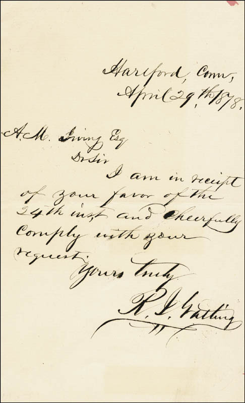 Image 1 for Richard J. Gatling - Autograph Letter Signed 04/29/1878 - HFSID 265096