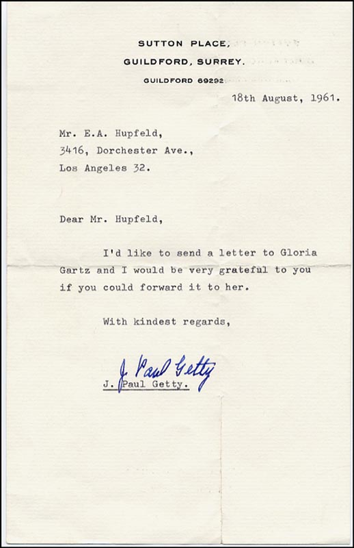 Image 1 for J. Paul Getty - Typed Letter Signed 08/18/1961 - HFSID 265100