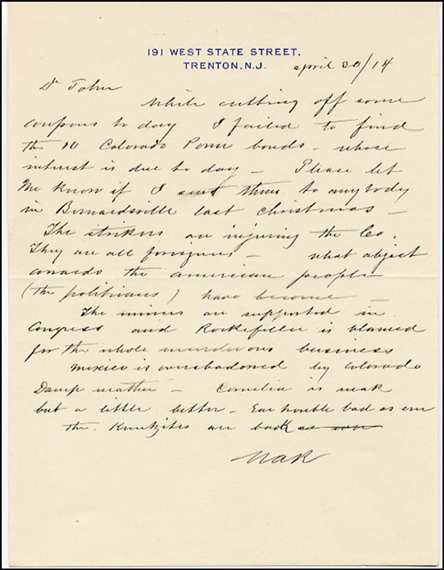 Image 1 for Washington A. Roebling - Autograph Letter Signed 04/30/1914 - HFSID 265113