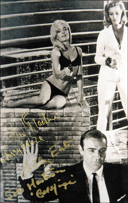 Image 1 for Goldfinger Movie Cast - Autographed Signed Photograph co-signed by: Honor Blackman, Shirley Eaton - HFSID 265184
