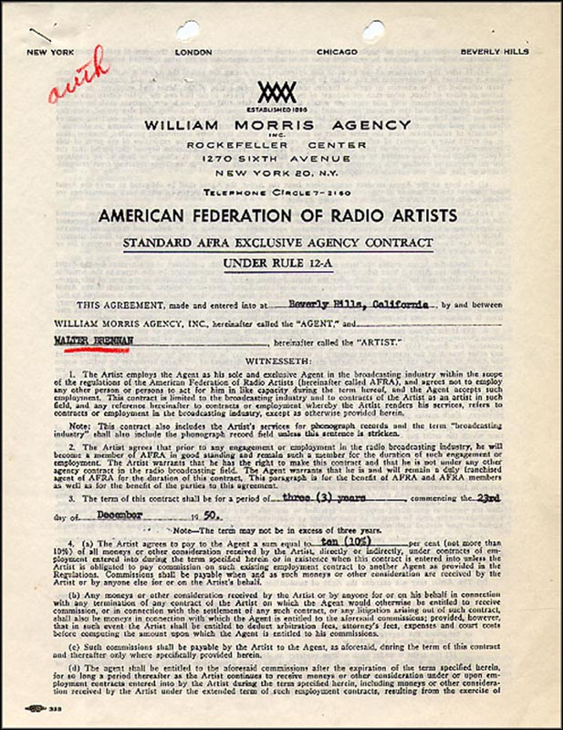 Image 3 for Walter Brennan - Document Signed 12/09/1950 - HFSID 265448