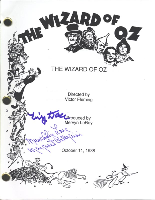 Image 1 for Wizard Of Oz Movie Cast - Script Signed Circa 1963 co-signed by: Margaret Pellegrini, Tiny Doll - HFSID 265494